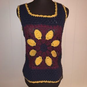 Tory Birch boho crotchet retro top